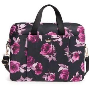 Kate Spade Blk/Mauve Rose Print Laptop Bag
